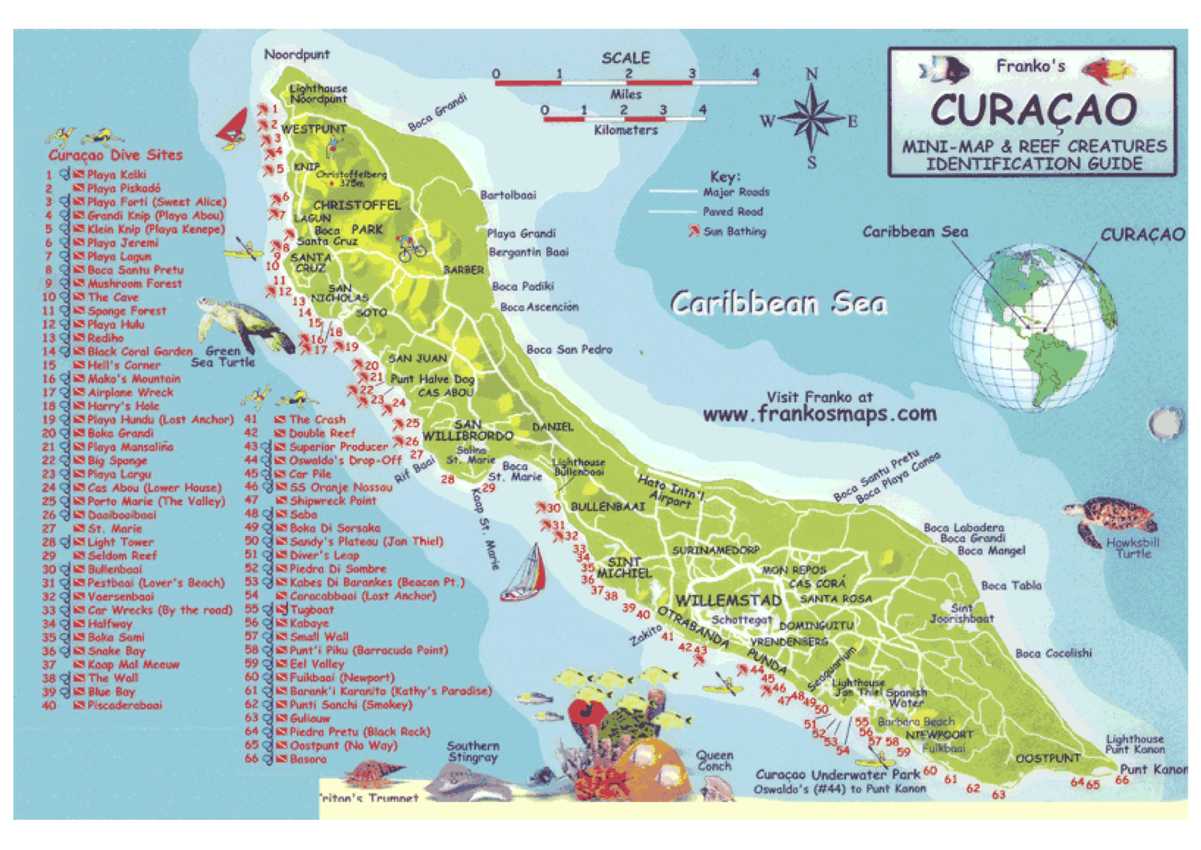 Dive map Curacao